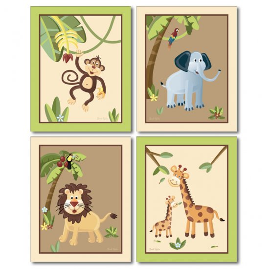SET OF 4 ART PRINTS 8x10 SAFARI JUNGLE ANIMALS
