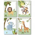 JUNGLE ANIMALS / SET OF 4 ART PRINTS FOR KIDS ROOM