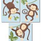 SET OF 3 BLUE JUNGLE MONKEY MONKEYS NURSERY ART PRINTS