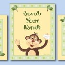 SET OF 3 BATHROOM PRINTS JUNGLE MONKEY WASH YOUR HANDS