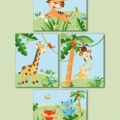 SET OF 4 NURSERY ART PRINTS  RAINFOREST JUNGLE ANIMALS