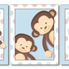 SET OF 3 MONKEY BLUE POP MONKEYS NURSERY ART PRINTS