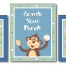 SET OF 3 BATHROOM PRINTS PEEK A BOO JUNGLE MONKEY