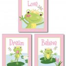 GIRLS SET OF 3 ART PRINTS FAIRY TALES FROG PRINCE 8x10