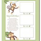 "JUNGLE MONKEY  11""x14""  BABY ULTRASOUNDS POEM PRINT"