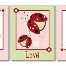 SET OF 3 RED LADYBUGS FLOWERS NURSERY WALL ART PRINTS