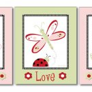SET OF 3 LADYBUGS DRAGONFLY FLOWERS NURSERY ART PRINTS