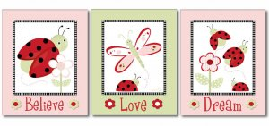 SET OF 3 LADYBUGS DRAGONFLY FLOWERS NURSERY ART PRINTS