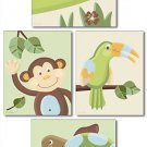 SET OF 4 PAPAGAYO JUNGLE SAFARI PRINTS MONKEY TOUCAN