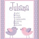 "11""x14"" GIRL'S PERSONALIZED NAME ART PRINT LOVE BIRDS"