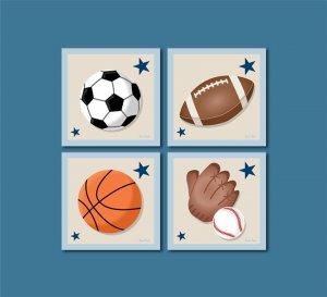 SET OF 4 PRINTS / SPORTS BASEBALL FOOTBALL BASKETBALL
