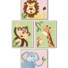 SET OF 4  ART PRINTS FOR GIRLS / JUNGLE SAFARI ANIMALS
