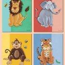 "8""X10"" SET OF 4 ART PRINTS KIDS JUNGLE SAFARI ANIMALS"