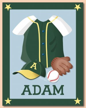 "11""x14""  PERSONALIZED ART PRINT SPORT BASEBALL UNIFORM"