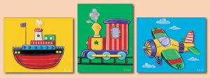 Set of 3 Nursery Art Prints Vehicles Plane Train Ship