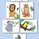 SET OF 4 NURSERY ART PRINTS JUNGLE SAFARI BABY ANIMALS