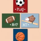 SPORTS SET OF 4 PRINTS FOOTBALL BASKETBALL  BASEBALL