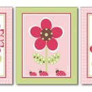 BUTTERFLY FLOWERS BERRY GARDEN LADYBUGS SET OF 3 PRINTS