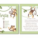 SET OF JUNGLE MONKEYS POEM&BOY'S NAME WALL ART PRINTS