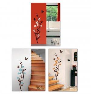 Japanese Cherry Blossom & Butterflies Vinyl Wall Decal