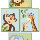 SET OF 4 NURSERY ART PRINTS / JUNGLE SAFARI ANIMALS