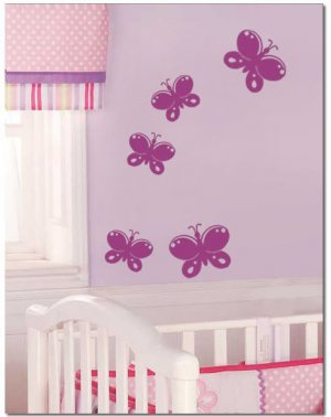 5 Butterflies Girls Nursery Art Vinyl Wall Decal
