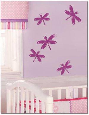 5 Dragonflies Girls Nursery Art Vinyl Wall Decal