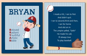 SET OF NAME & SPORTS BASEBALL POEM ART PRINTS FOR BOYS