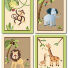 "SET OF 4 ART PRINTS   8""x10"" /   SAFARI JUNGLE ANIMALS"