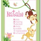 SET OF RAINFOREST JUNGLE MONKEYS POEM&GIRL NAME PRINTS