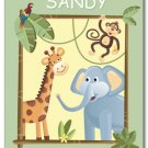 "11""x14"" PERSONALIZED JUNGLE SAFARI ART PRINT FOR KIDS"