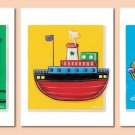 SET OF 3 ART PRINTS TRANSPORTATION VEHICLES PLANE TRAIN