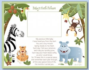 "8""x10"" BABY ULTRASOUND POEM PRINT SAFARI JUNGLE ANIMALS"