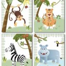 "8""x10"" SET OF 4 ART PRINTS / SAFARI  JUNGLE ANIMALS"