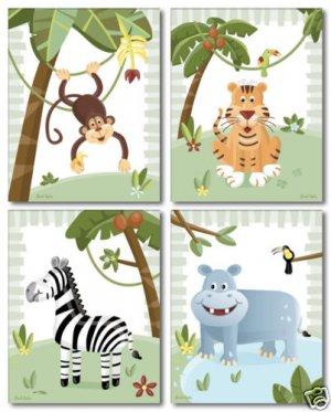 "8""x10"" SET OF 4 ART PRINTS / SAFARI  JUNGLE ANIMALS"