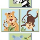 SET OF 4 NURSERY ART PRINTS / SAFARI JUNGLE ANIMALS