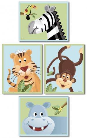 SET OF 4 NURSERY ART PRINTS / SAFARI JUNGLE ANIMALS