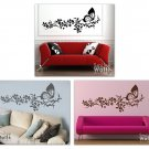 Branch with Butterfly and Flowers Vinyl Wall Decal Art