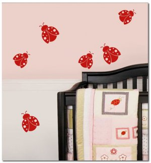 6 Ladybugs Girls Nursery Art Vinyl Wall Decal