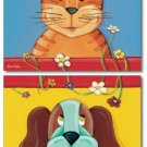"11""x14"" SET OF 2 ART PRINTS FOR KIDS PUPPY DOG & KITTEN"