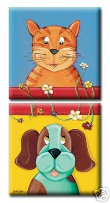 SET OF 2 PRINTS ON STRETCHED CANVAS / CAT & DOG
