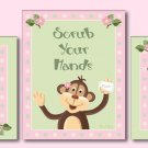 JUNGLE MONKEY SET OF 3 GIRL BATHROOM PRINTS WASH YOUR..