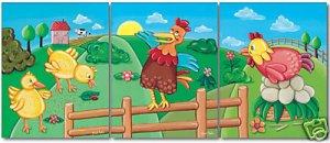 "11""x14"" SET OF 3 ART PRINTS FOR KIDS  / CHICKEN FARM"