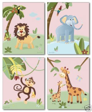 "8""x10"" SET OF 4 PINK JUNGLE ANIMALS  GIRL NURSERY PRINT"