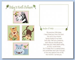 "SAFARI ANIMALS  8""x10"" BABY ULTRASOUND POEM PRINT"