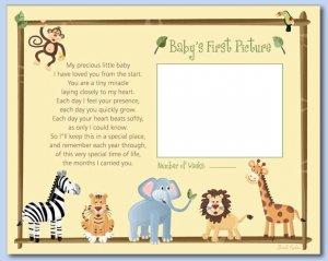"JUNGLE SAFARI ANIMALS 8""x10"" BABY ULTRASOUND POEM PRINT"