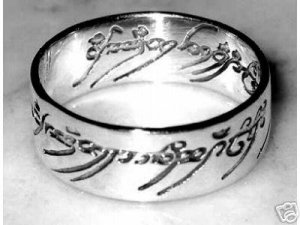 Lord of the Rings Silver Ring Size 7