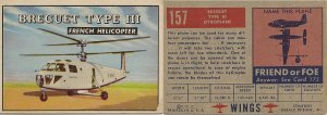 "TOPPS 1952 ""WINGS""  #157 BREGUET Trading Card"