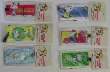 Peanuts Snoopy Luggage Tag - Set of 6 VINTAGE*