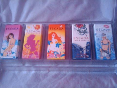 A set of 5 Escada perfumes